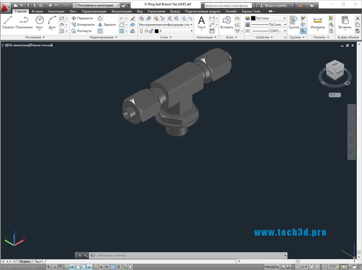 3D модель тройника с уплотнительным кольцом