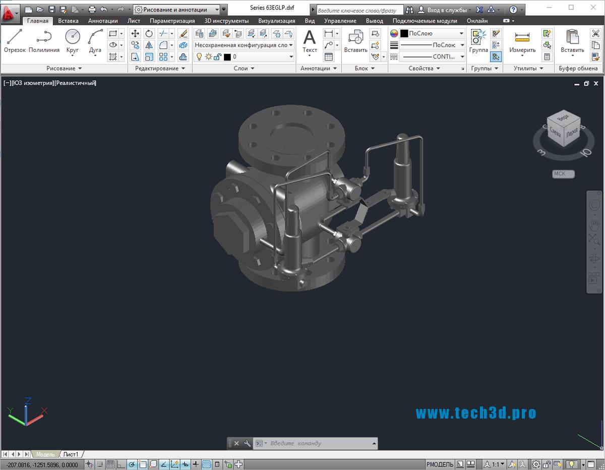 3D модель предохранительного клапана нефтяного