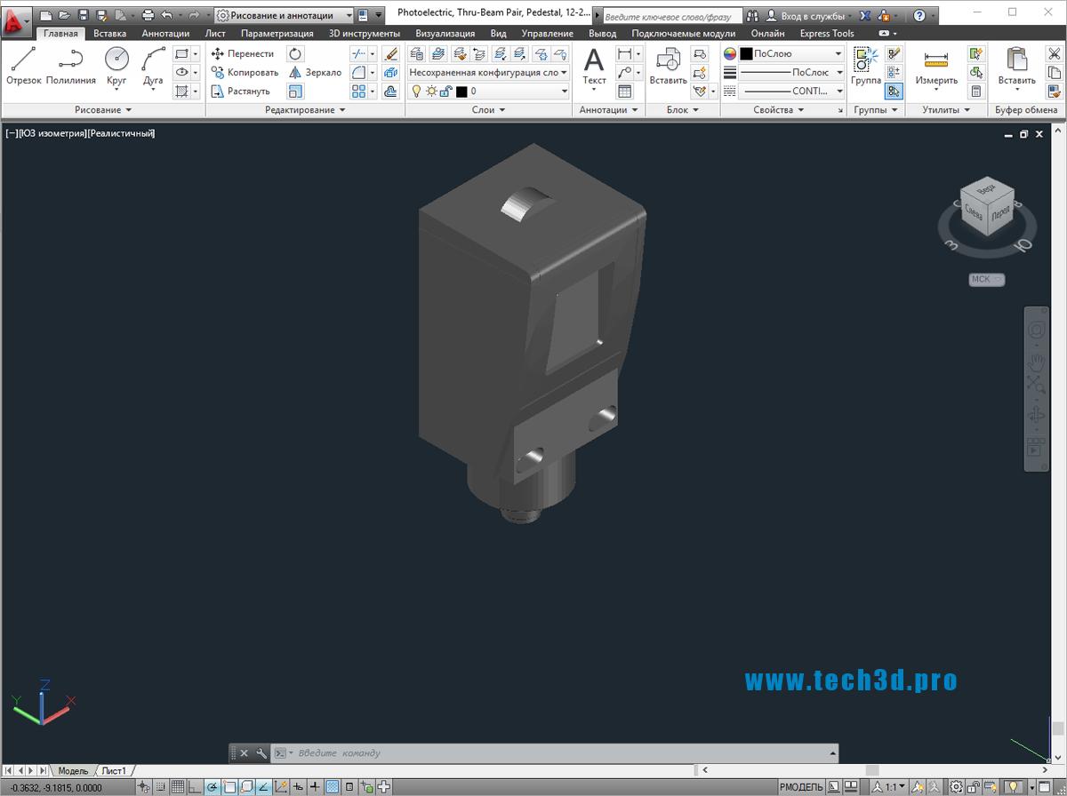3D модели оптических фотоэлектрических датчиков