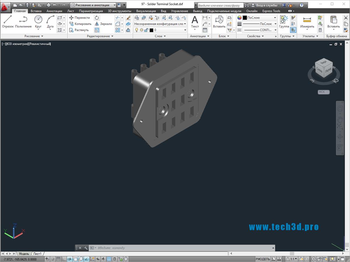 3D модель разъема solder terminal