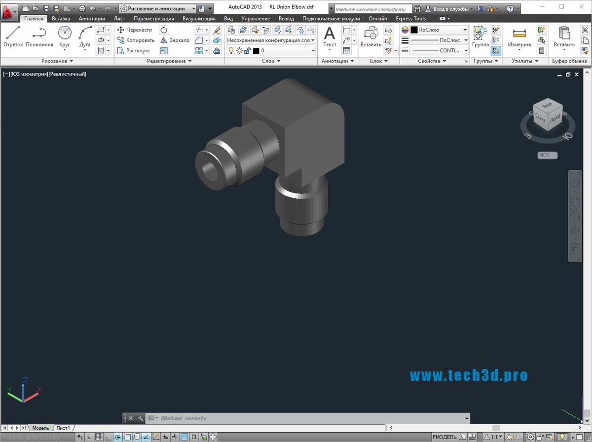 3D модель уголка для труб пресс