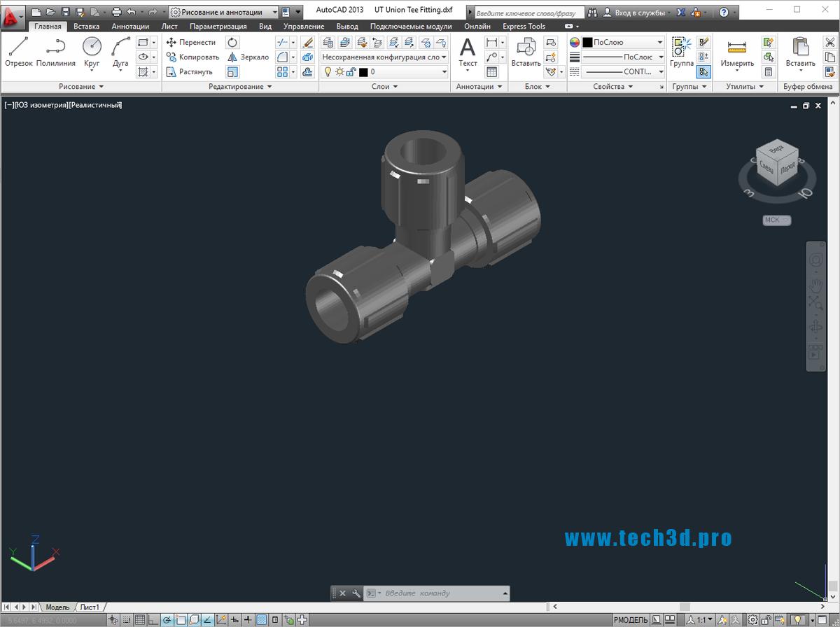 3D модель тройника переходного для полиэтиленовых труб