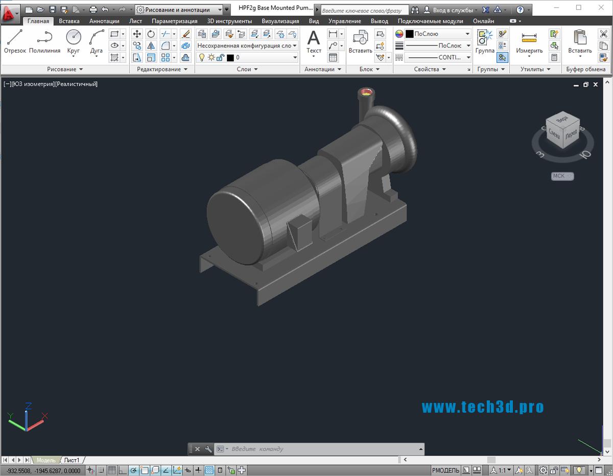3D модель насосного агрегата на раме