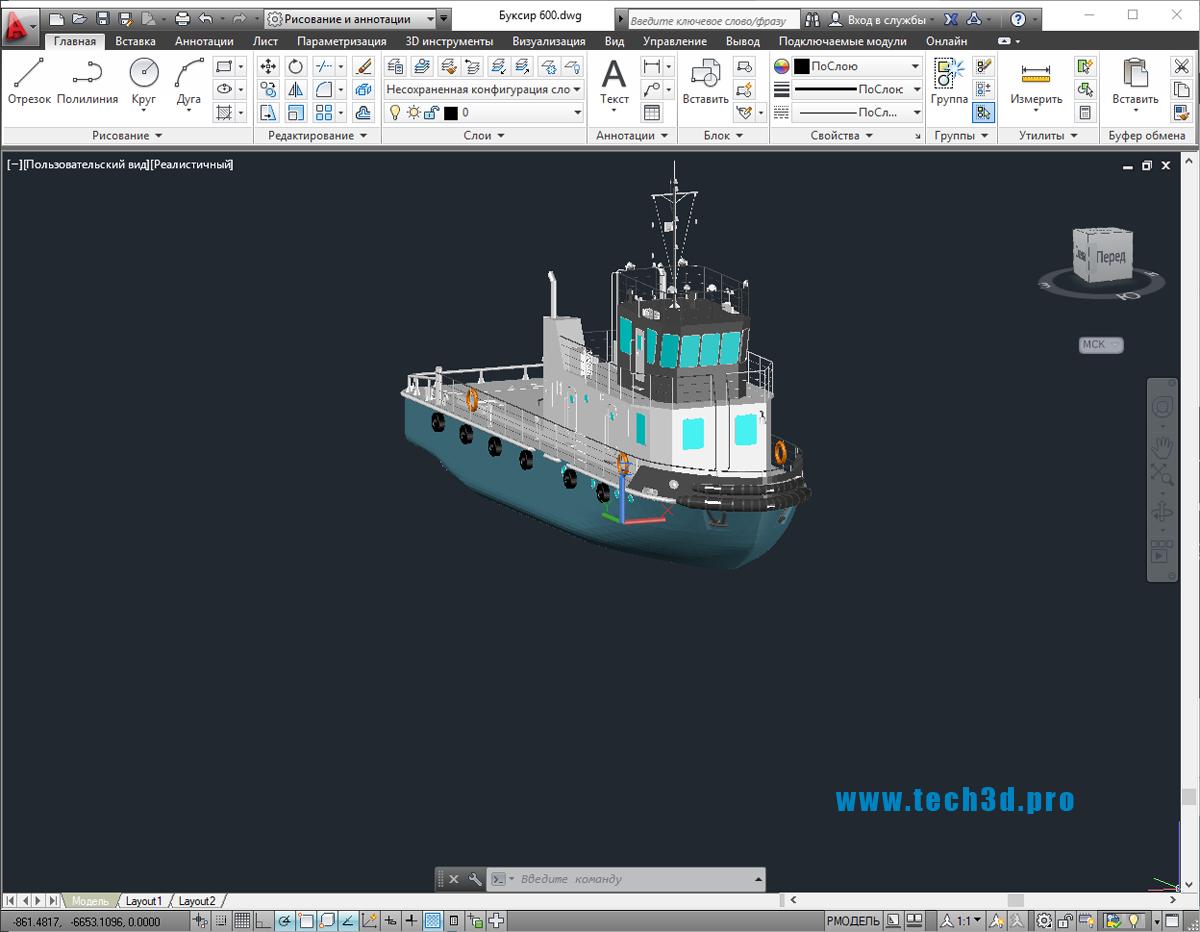 3D модель буксира 600