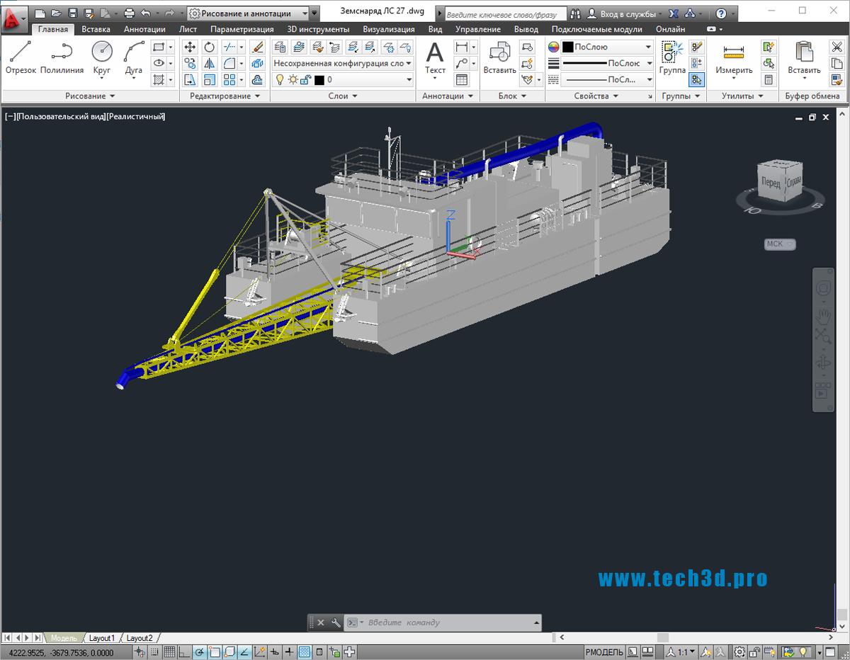 3D модель земснаряда ЛС 27