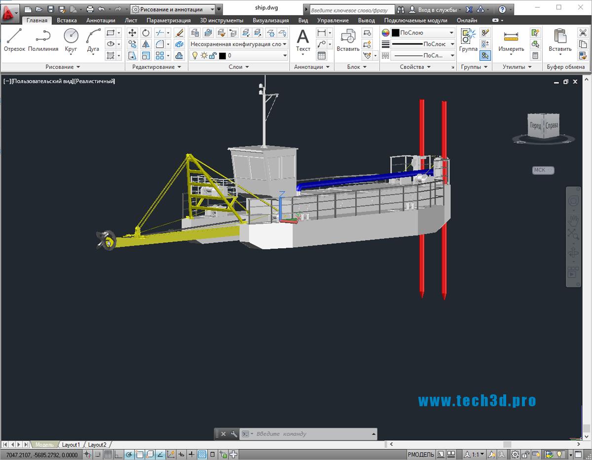 3D модель земснаряда ЛС 27м
