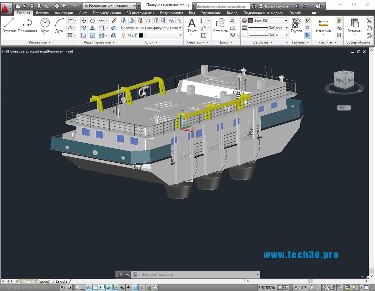 3D модель плавучей насосной станции