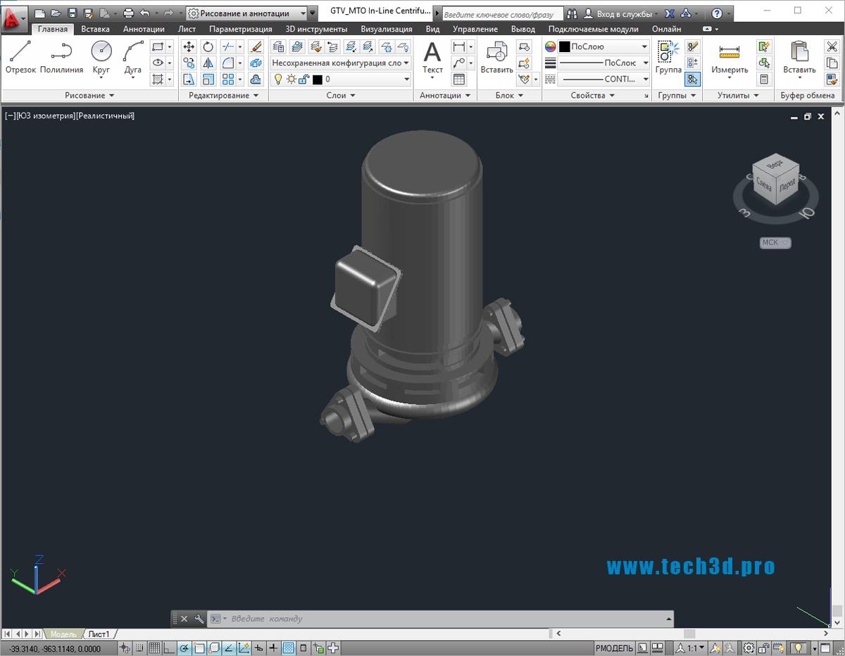 3D модели насосов центробежных консольных