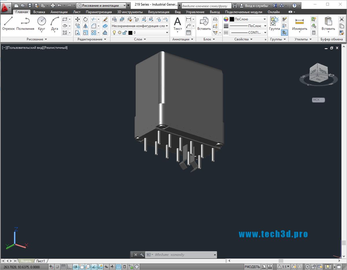 3D модель промышленного реле Schneider