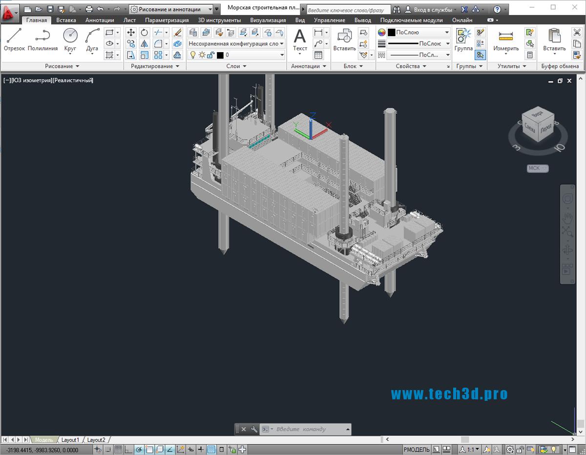 3D модель морской строительной платформы
