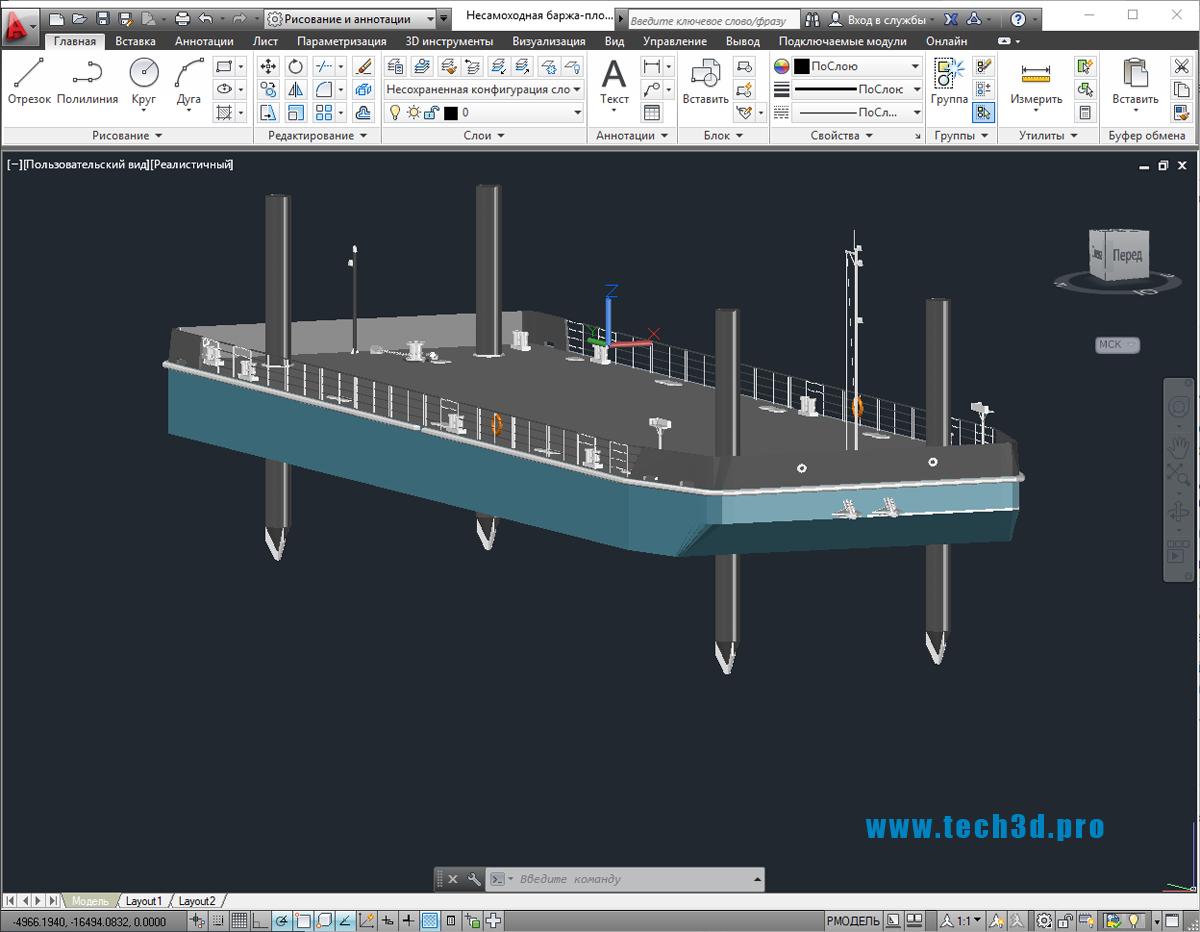 3D модель несамоходной баржи-площадки