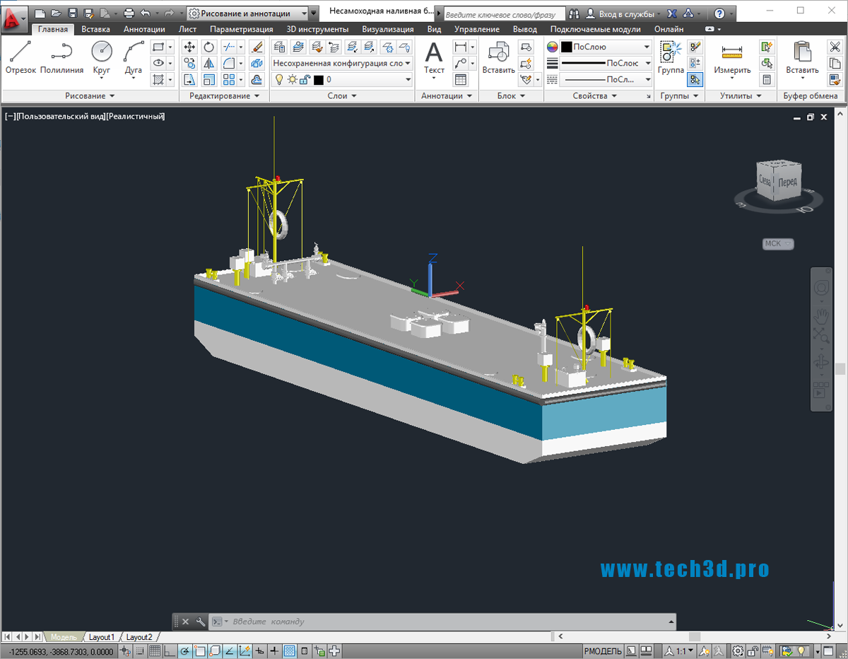3D модель несамоходной наливной баржи