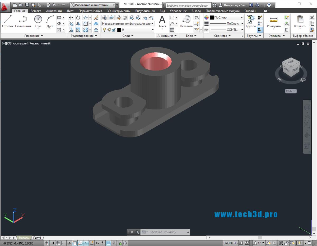 3D модели гаек двухушковых