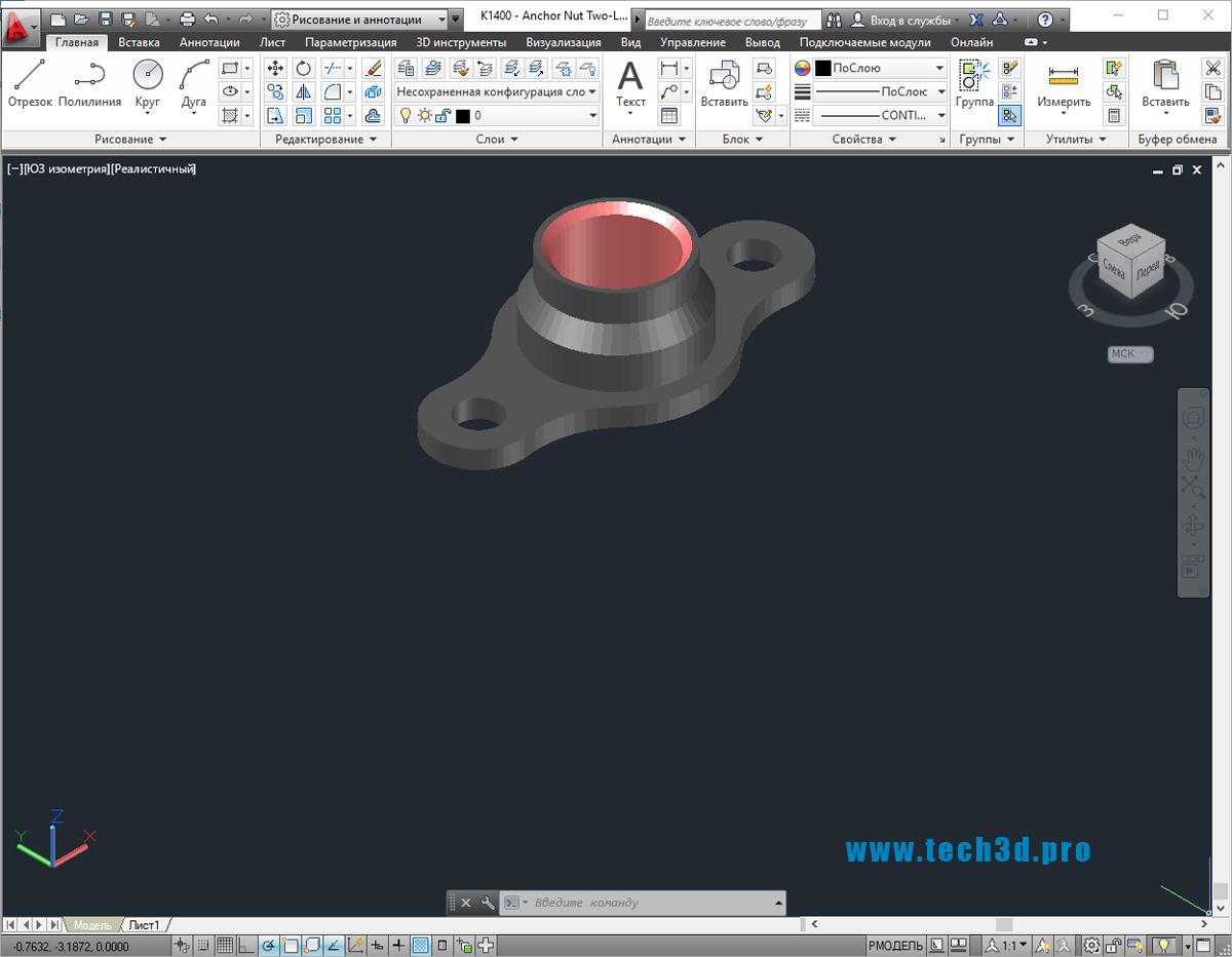 3D модель гайки типа барашек