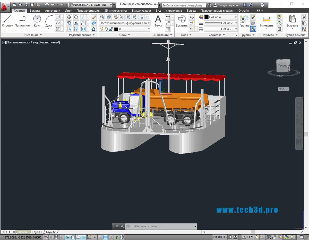 3D модель площадки самоподъемной