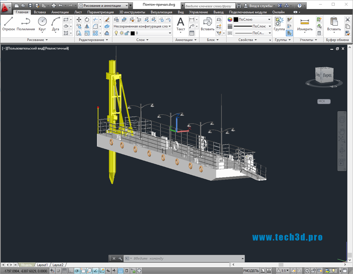 3D модель понтон-причала