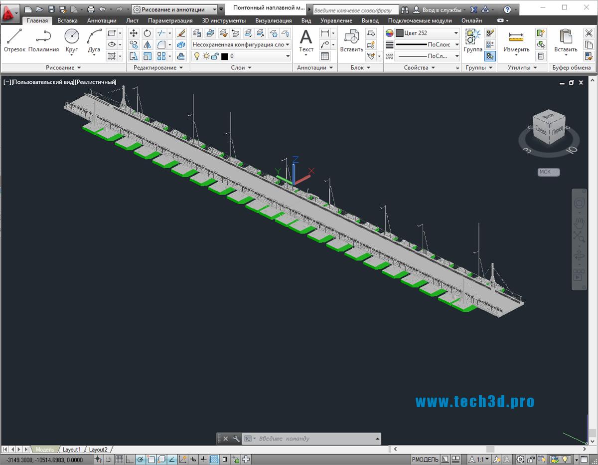 3D модель понтонного наплавного моста