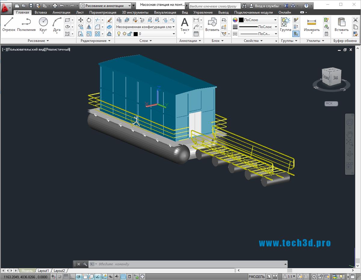 3D модель насосной станции на понтоне
