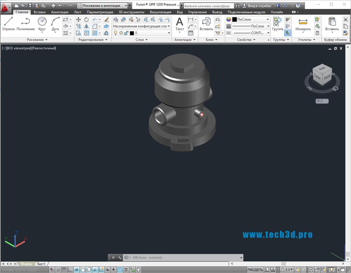 3D модель регулятора давления пневматического