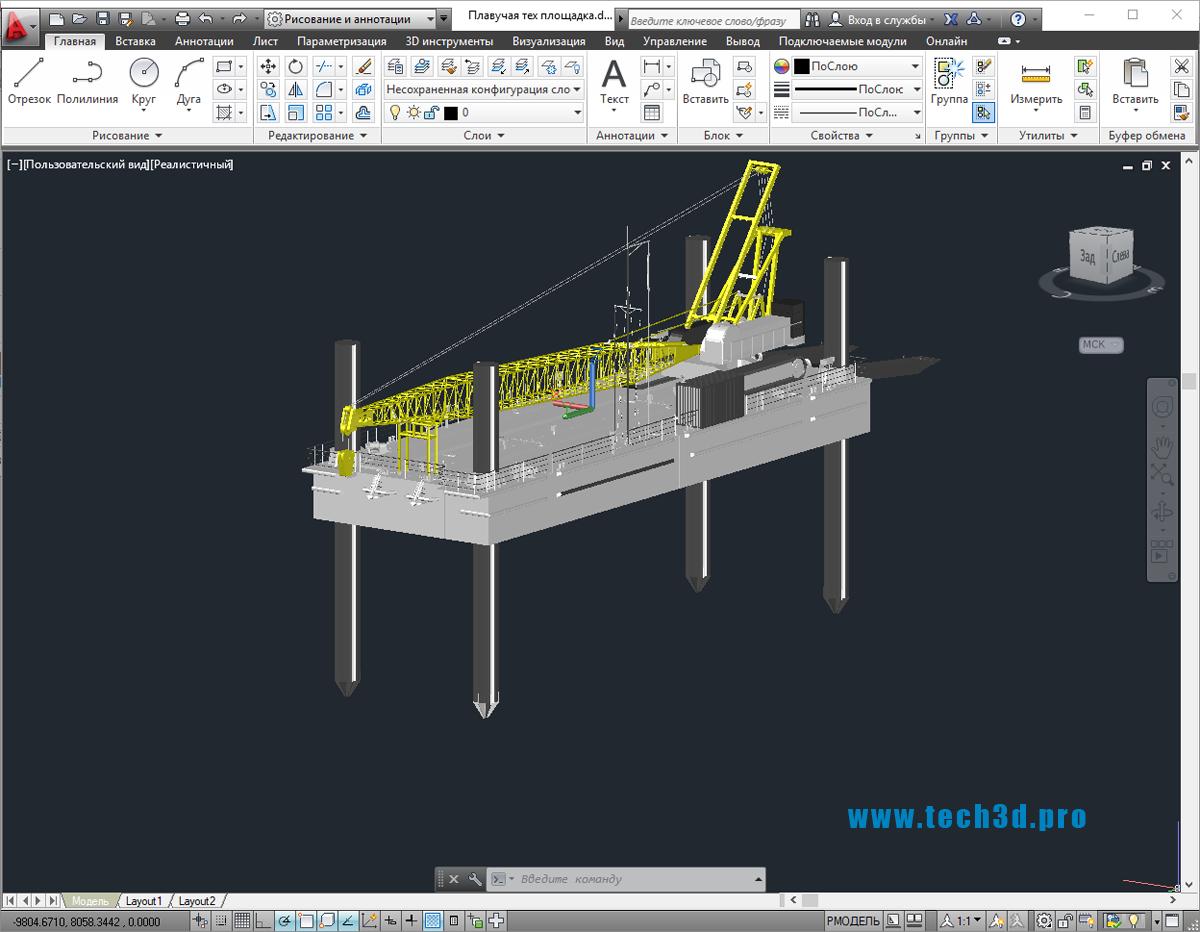 3D модель плавучей тех площадки