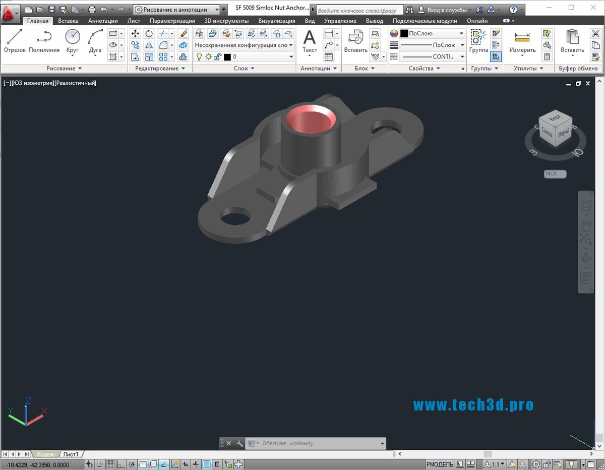 3D модели гаек с площадкой