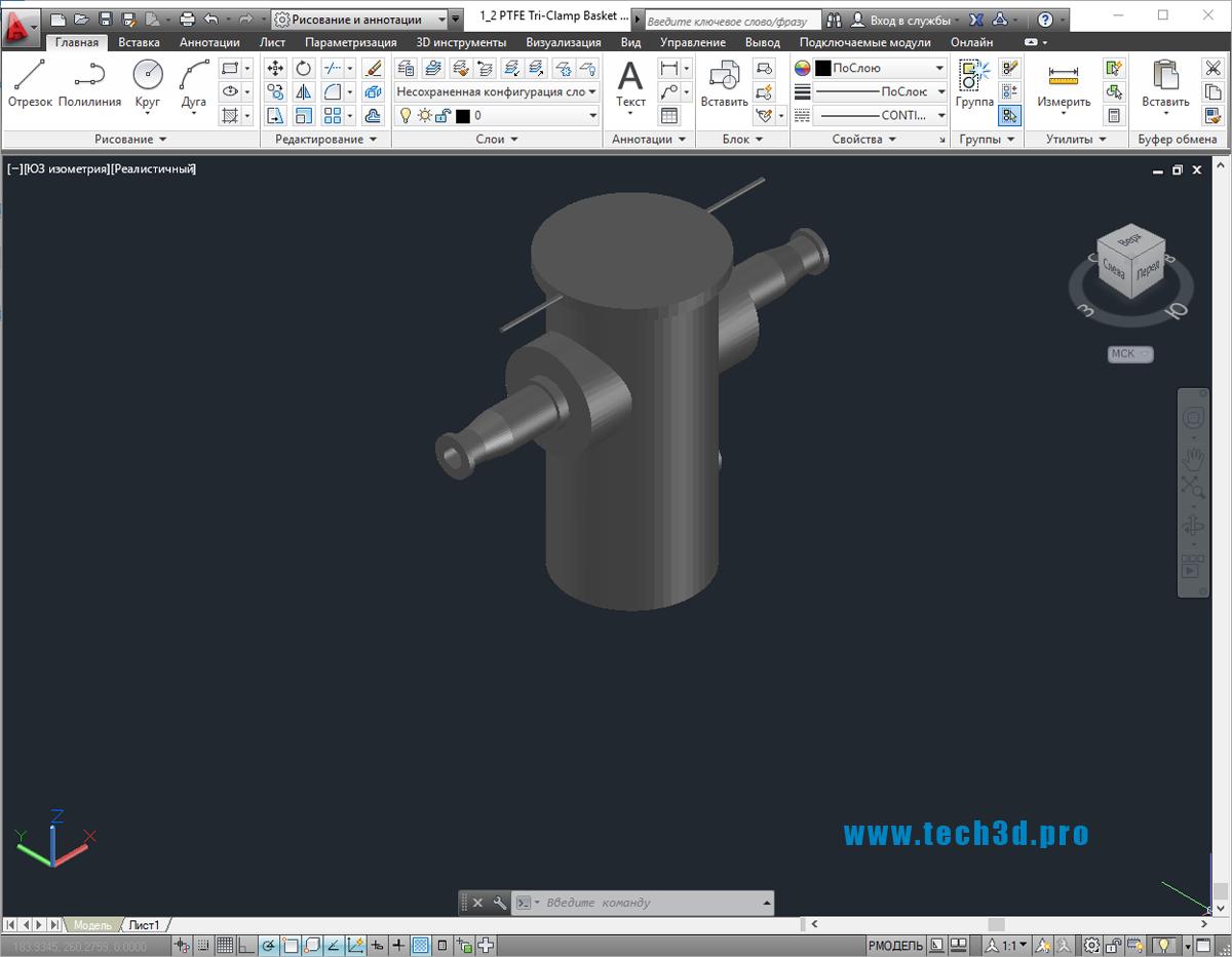 3D модель сетчатого фильтра грубой очистки воды