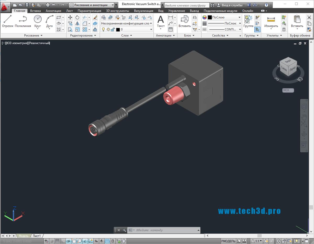 3D модель электронного вакуумного выключателя