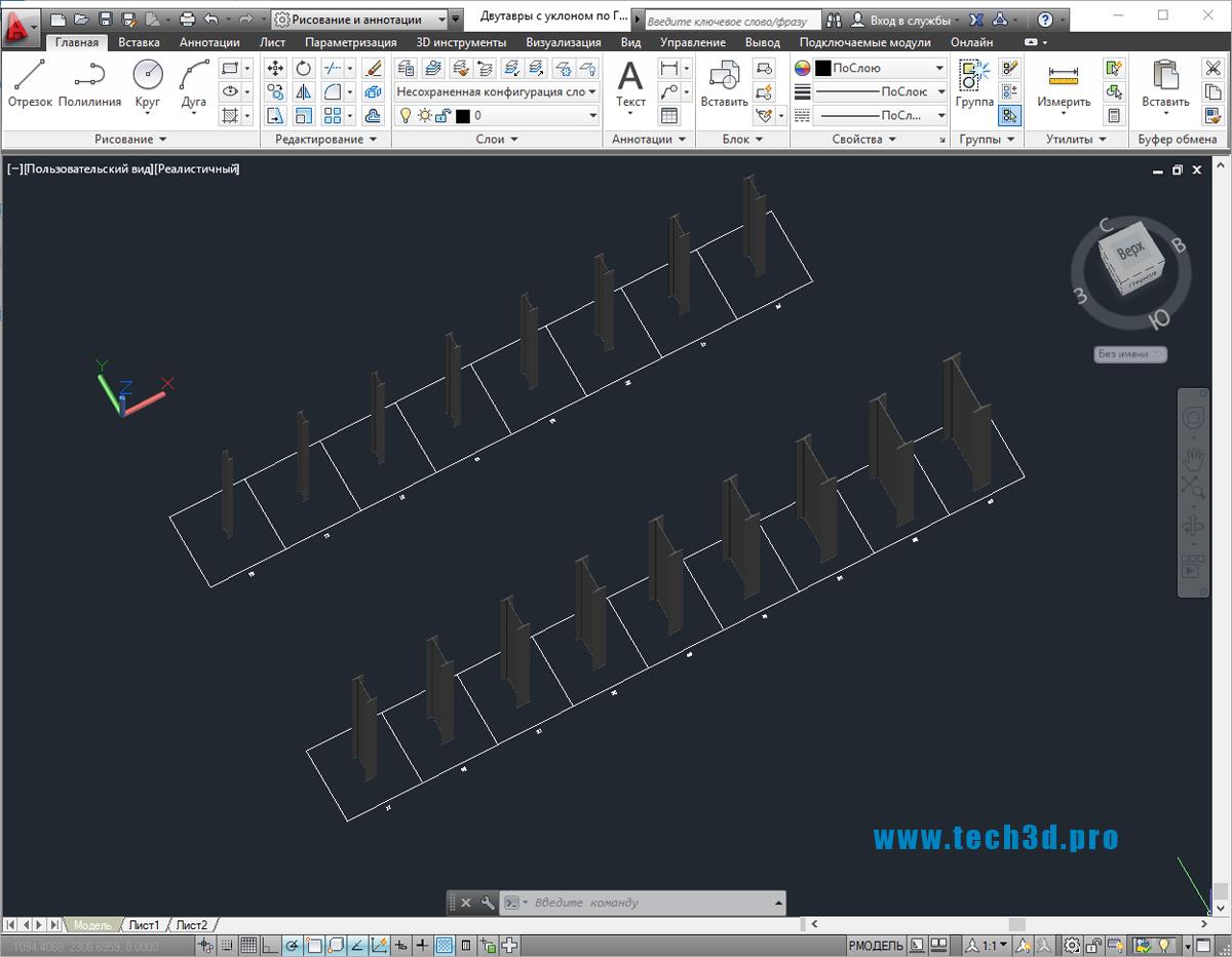 3D модели двутавров с уклоном по ГОСТ 8239-89