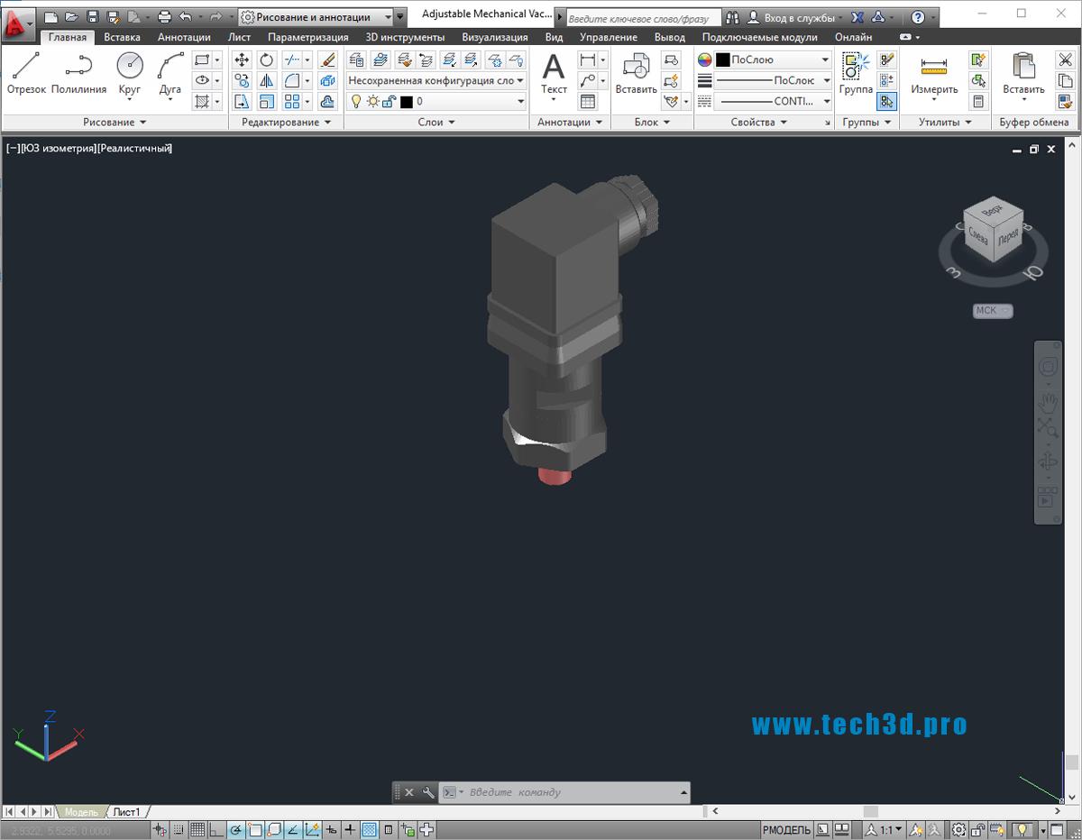 3D модель цифрового датчика давления