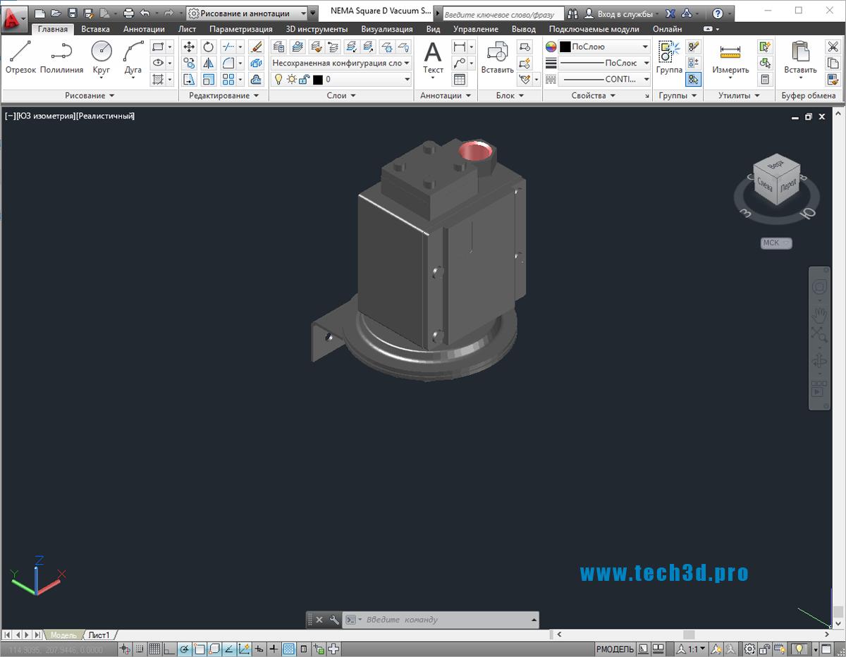 3D модель вакуумного выключателя Schneider
