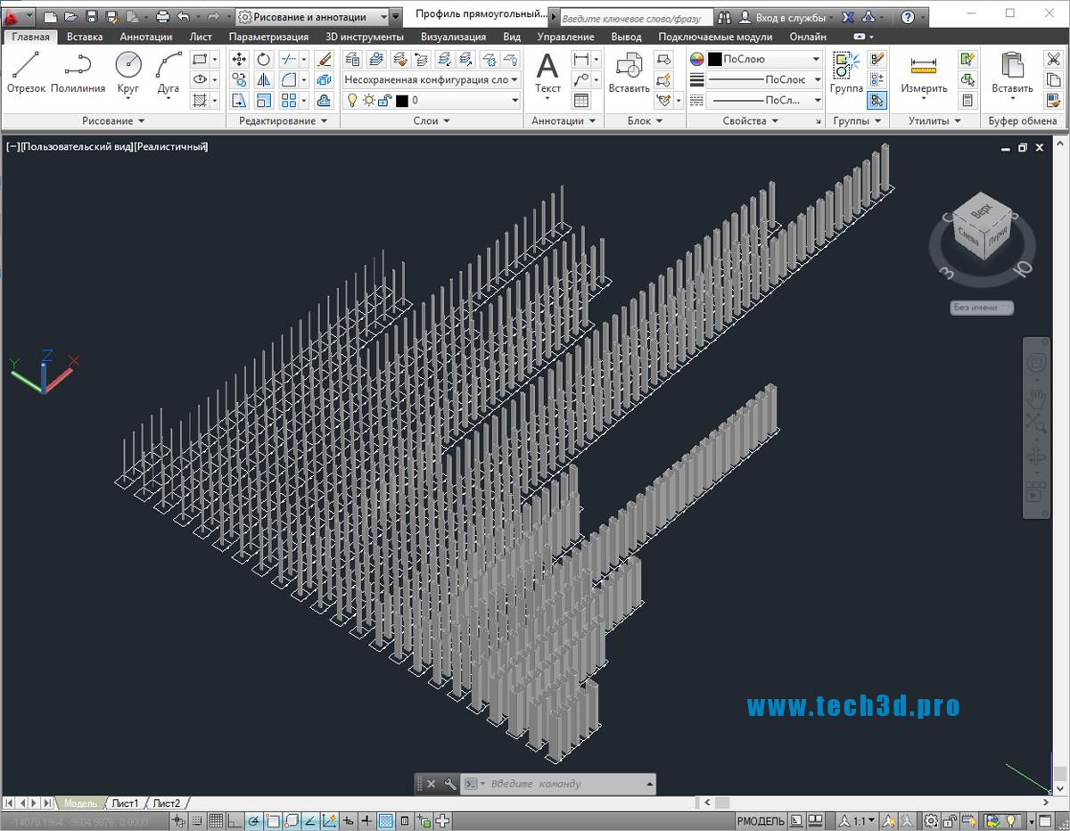 3D модели профилей прямоугольных по ГОСТ 30245-2003