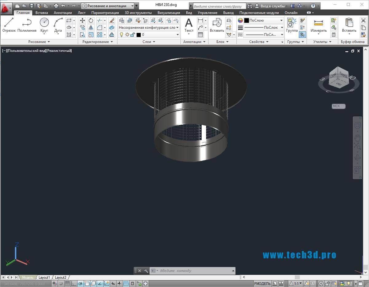 3D модели икрогасителей металлических