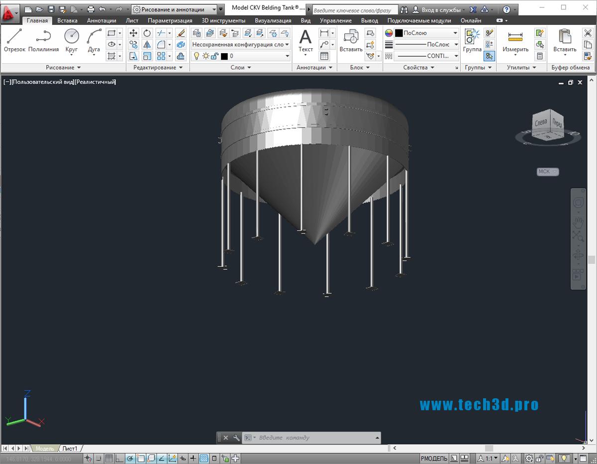3D модель вертикального не сварного резервуара