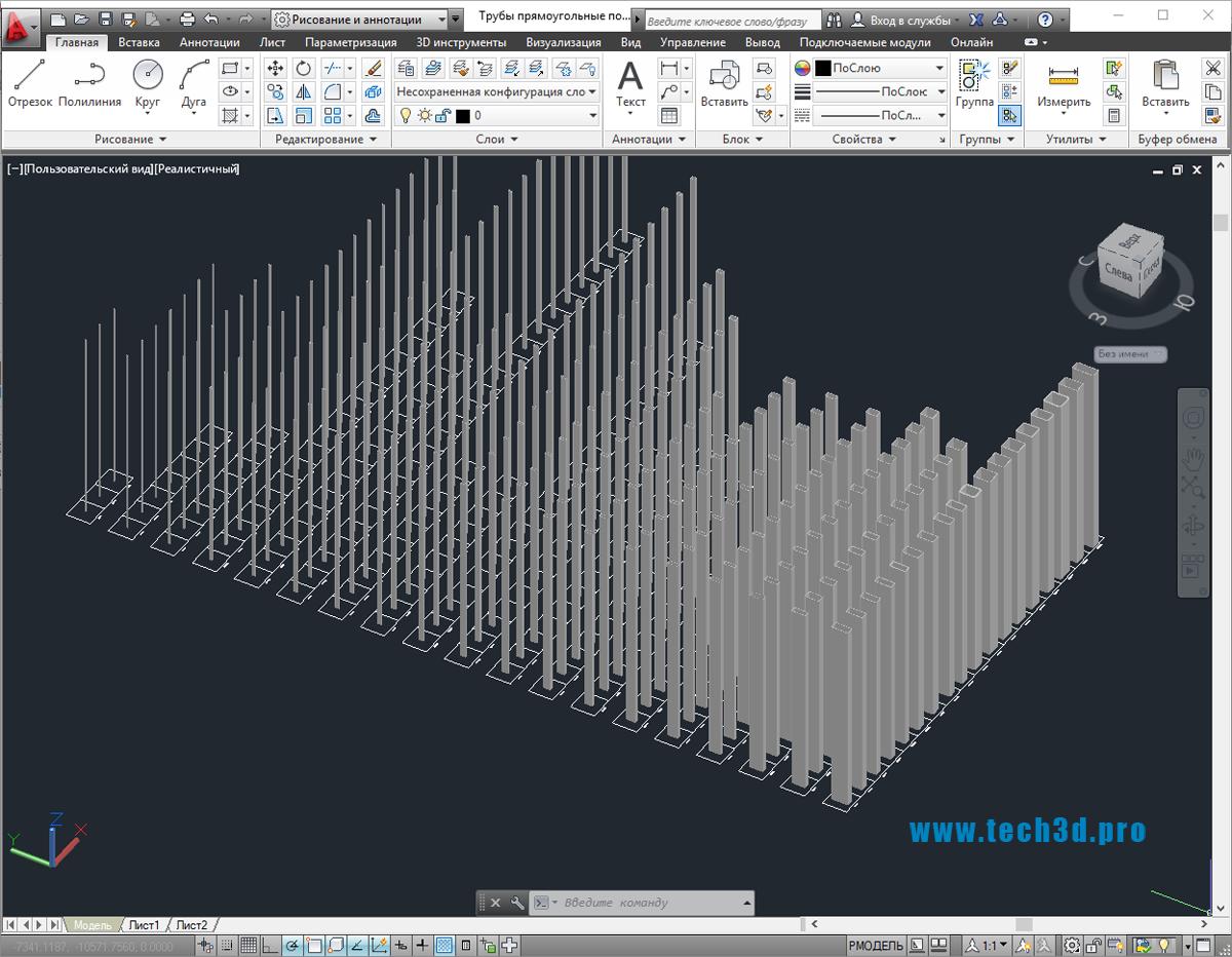 3D модели труб прямоугольных по ГОСТ 8645-68
