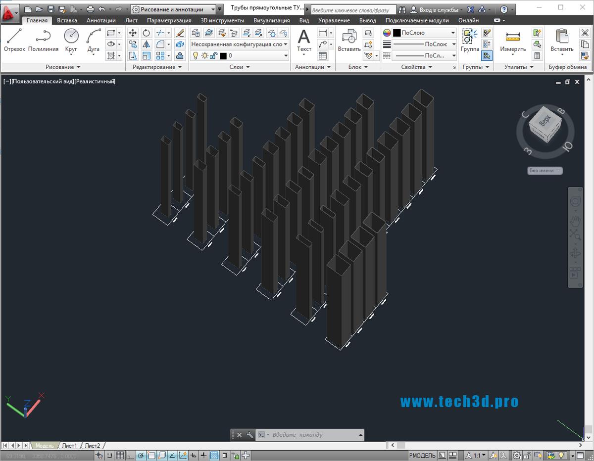 3D модели труб прямоугольных ТУ 67-2287-80