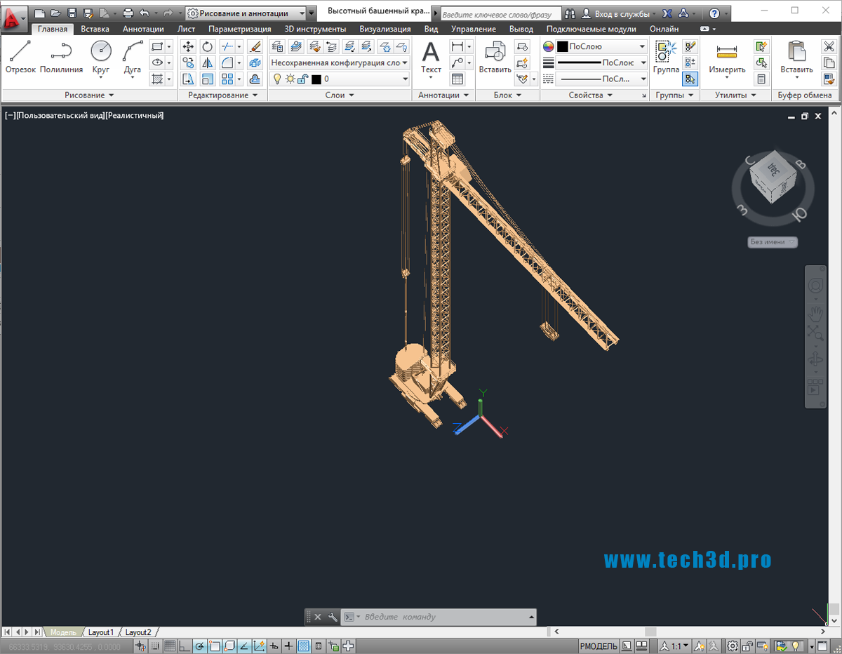 3D модель высотного башенного крана